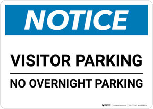Notice: Visitor Parking - No Overnight Parking Landscape