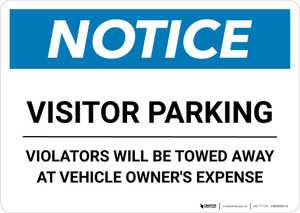 Notice: Visitor Parking - Violators Will Be Towed Away Landscape