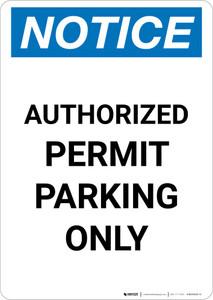 Notice: Authorized Permit Parking Only Portrait