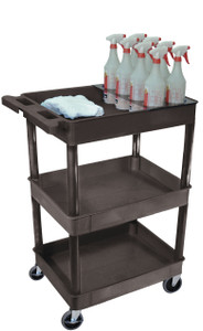 Luxor Black 3 Shelf Tub Cart W/ Bottle Holder