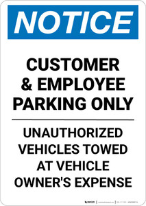 Notice: Customer and Employee Parking Only - Unauthorized Cars Will Be Towed Away Portrait