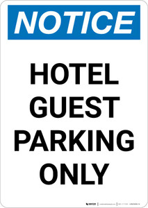 Notice: Hotel Guest Parking Only Portrait