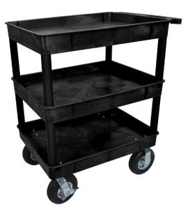 Luxor Black 24x32 3 Tub Cart W/ P8 Casters