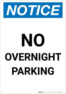 Notice: No Overnight Parking Portrait