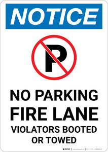 Notice: No Parking - Fire Lane Violators Booted Or Towed with Icon Portrait