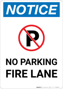 Notice: No Parking - Fire Lane with Icon Portrait