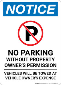 Notice: No Parking Without Property Owner's Permission with Icon Portrait