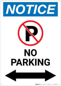 Notice: No Parking with Arrow Portrait