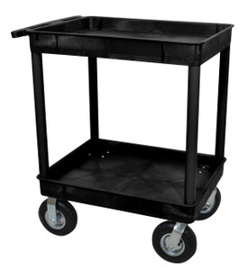 Luxor Black 24x32 2 Tub Cart W/ P8 Casters