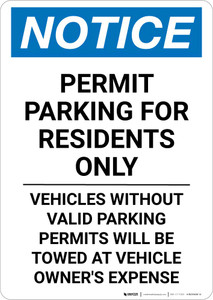 Notice: Permit Parking for Residents Only - Vehicles Without Valid Parking Permits Portrait