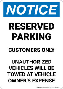 Notice: Reserved Parking Customers Only Portrait