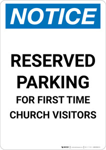 Notice: Reserved Parking for First Time Church Visitor Portrait