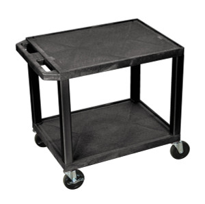 Luxor Tuffy Black 2 Shelf AV Cart w/ Electric