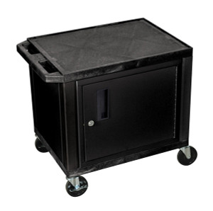 Luxor Tuffy Black 2 Shelf AV Cart W/ Cabinet & Electric