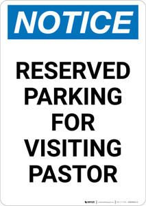 Notice: Reserved Parking for Visiting Pastor Portrait