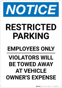 Notice: Restricted Parking Employees Only Portrait