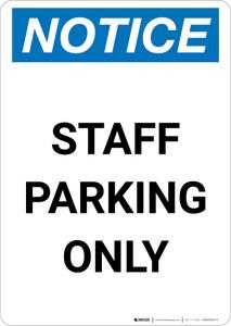 Notice: Staff Parking Only Portrait