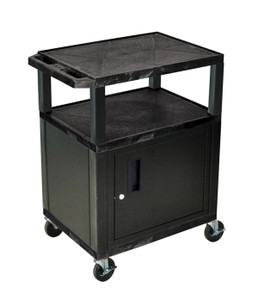 Luxor Tuffy Black 3 Shelf AV Cart W/ Cabinet & Electric