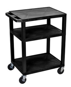 Luxor Tuffy Black 3 Shelf AV Cart w/ Electric