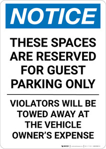Notice: These Spaces Are Reserved for Guest Parking Only Portrait