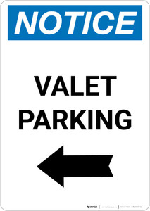 Notice: Valet Parking with Left Arrow Portrait