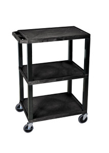 Luxor Black 3 Shelf Specialty Utility Cart