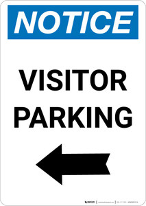 Notice: Visitor Parking with Left Arrow Portrait