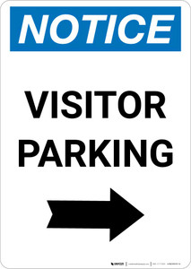 Notice: Visitor Parking with Right Arrow Portrait