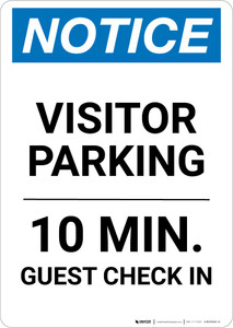 Notice: Visitor Parking - 10 Min. Guest Check In Portrait