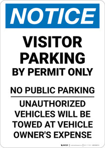 Notice: Visitor Parking By Permit Only - No Public Parking Portrait