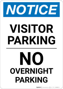 Notice: Visitor Parking - No Overnight Parking Portrait