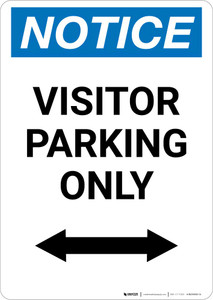 Notice: Visitor Parking Only with Bidirectional Arrow Portrait
