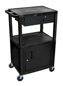 "Luxor Black Tuffy 3 Shelf 42"" AV Cart W/ Cabinet & Electric"