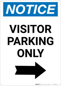 Notice: Visitor Parking Only with Right Arrow Portrait