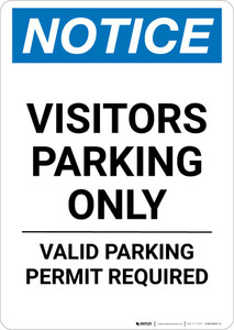 Notice: Visitors Parking Only - Valid Parking Permit Required Portrait