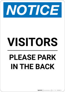 Notice: Visitors - Please Park In The Back Portrait