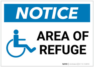 Notice: Area Of Refuge with ADA Icon Landscape - Label