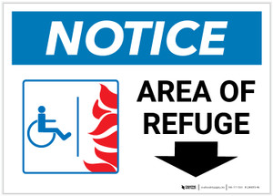 Notice: Area Of Refuge with ADA Fire Icon Down Arrow Landscape - Label