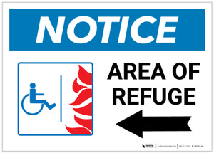 Notice: Area Of Refuge with ADA Fire Icon Left Arrow Landscape - Label