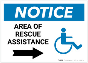 Notice: Area Of Rescue Assistance with ADA Icon and Right Arrow Landscape - Label