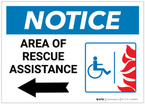 Notice: Area Of Rescue Assistance with ADA Fire Icon Left Arrow Landscape - Label