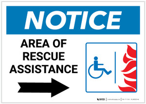 Notice: Area Of Rescue Assistance with ADA Fire Icon Right Arrow Landscape - Label