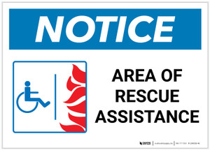 Notice: Area Of Rescue Assistance with ADA Fire Icon Landscape - Label