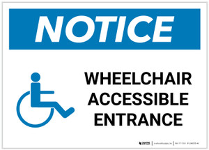 Notice: Wheelchair Accessible Entrance with ADA Icon Landscape - Label