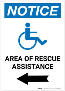 Notice: Area Of Rescue Assistance with ADA Icon Left Arrow Portrait - Label
