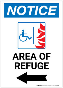 Notice: Area of Refuge with ADA Fire Icon and Left Arrow Portrait - Label