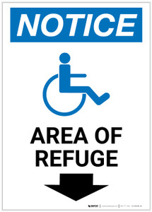 Notice: Area of Refuge with ADA Icon Down Arrow Portrait - Label