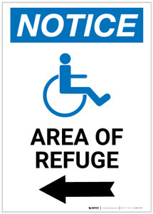 Notice: Area of Refuge with ADA Icon Left Arrow Portrait - Label