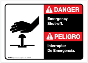 Danger: Spanish Bilingual Emergency Shut-Off Landscape ANSI - Label