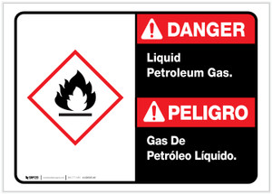 Danger: Spanish Bilingual Liquid Petroleum Gas Landscape ANSI - Label